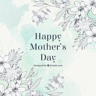 Sketches bloemen moederdag groet