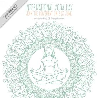 Sketches decoratie achtergrond met een meisje dat yoga doet
