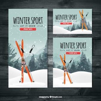Ski banners set van verschillende afmetingen