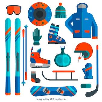Ski en snowboard apparatuur in plat design