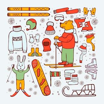 Ski en winter doodle stijl