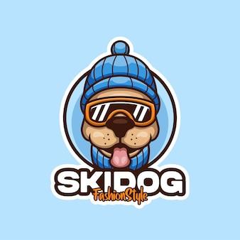 Ski hondenkleding cartoon mascotte logo ontwerp