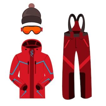 Ski kleding. winter skiën kleding apparatuur pictogrammen familie vakantie, activiteit of reizen ski-uitrusting. wintersport berg skiën koude recreatie. skikleding en uitrusting.