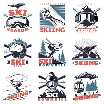 Ski seizoen logo set