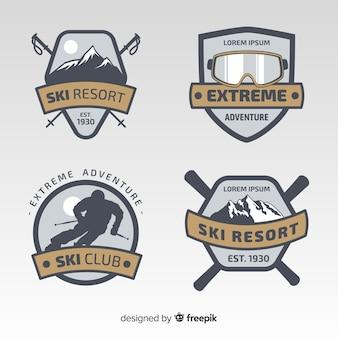 Ski silhouet winter badge collectie
