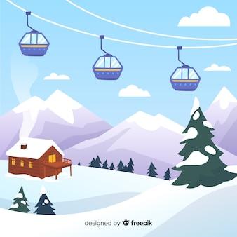 Ski station achtergrond