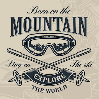 Skiën logo concept, illustratie van een ski-bril met gekruiste skistokken op de lichte achtergrond.