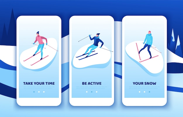 Skiën mobiele app sjabloon set