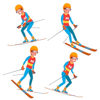 Skiën speler mannelijke tekenset
