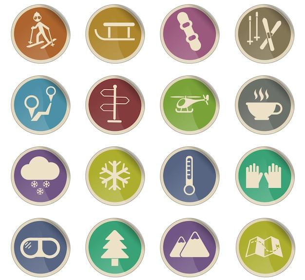Skiën vector iconen in de vorm van ronde papieren etiketten