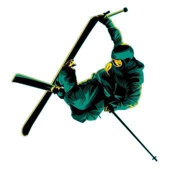 Skiën vectorillustratie