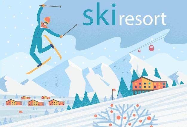 Skiër die salto maakt. winterlandschap met skilift, huizen en bergen. skigebied. platte vectorillustratie.