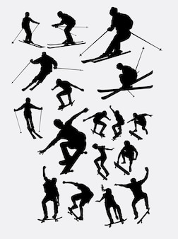 Skiër en skateboarder sport mensen silhouet