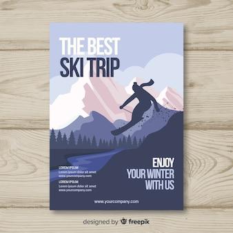 Skiër silhouet ski reis poster
