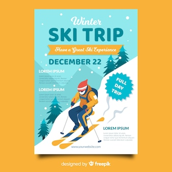 Skiër skireis poster sjabloon