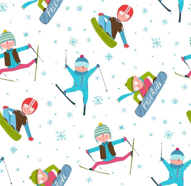Skiër snowboarder wintersport cartoon naadloze patroon achtergrond