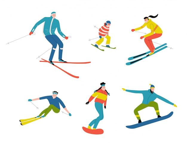 Skiërs en snowboarders, doodle mensen. grappige cartoon mannen, vrouwen en kind in het skigebied. hand getrokken vlakke afbeelding, geïsoleerd op wit.