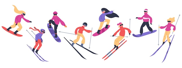 Skiërs en snowboarders. wintersportactiviteiten, mensen op snowboard, jonge skiërs en snowboarders springen op bergillustratieset. extreme sneeuwbergen, snowboarden en snowboarden