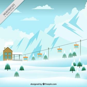 Skigebied achtergrond met stoeltjeslift