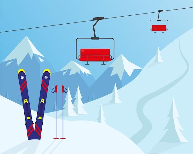 Skigebied concept. winter sport ontwerp illustratie.