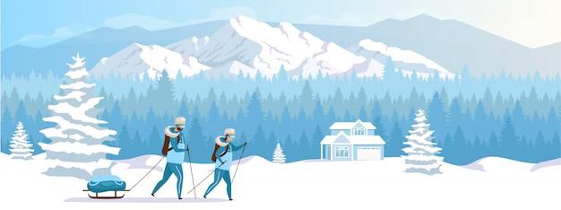 Skigebied vakantie egale kleur illustratie