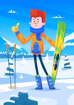 Skigebied vakanties. leuk skiërkarakter met ski's in handen. sneeuw achtergrond met bomen. platte vector stock illustratie.
