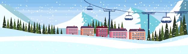 Skigebiedhotel met kabelwagenbanner