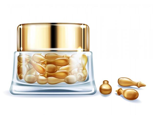 Skincare van vrouwen product van producten met vitaminen 3d realistische vector.