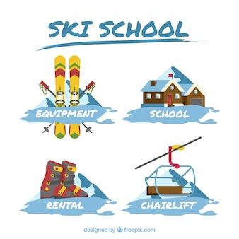 Skischool stickers set
