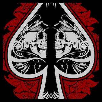 Skull ace scoop met roosdecoratie