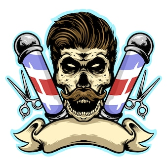 Skull barbershop met gesneden en banner logo ontwerp mascotte