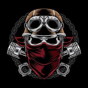 Skull biker met helm geïsoleerd op zwart