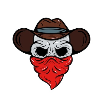 Skull cowboy logo sport embleem