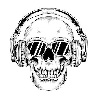 Skull dj met zwart glas