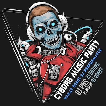 Skull dj muziekrobot cyborg android horor party artwork