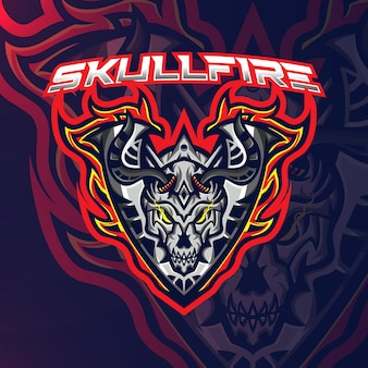 Skull fire sport esport gaming mascotte logo sjabloon