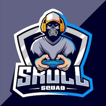 Skull gamer esport logo ontwerp