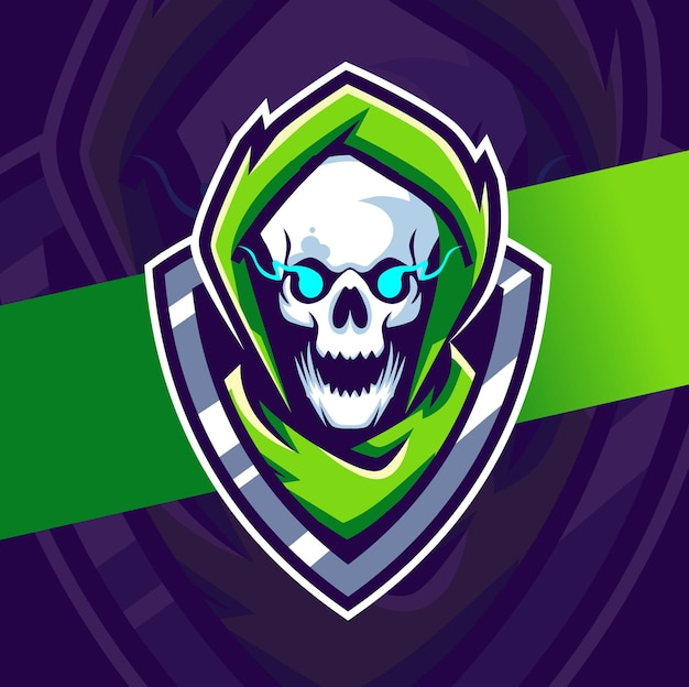 Skull gamer mascotte esport logo ontwerpkarakter voor gaming en sport