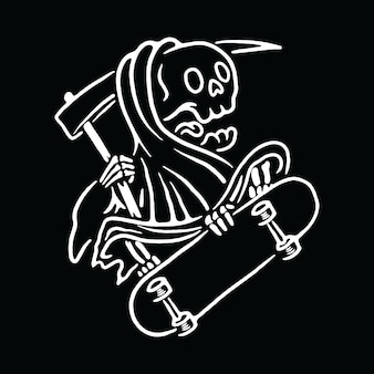 Skull grim reaper love skateboard illustratie