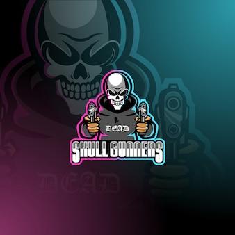 Skull gunners esport mascotte logo sjabloon