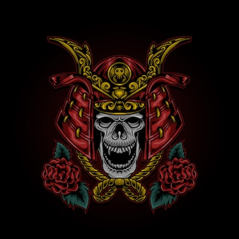 Skull head samurai illustratie