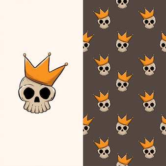 Skull king hand getekende naadloze patroon