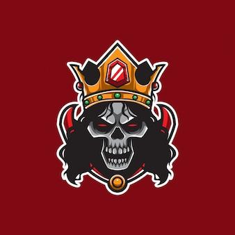 Skull king long hair vector