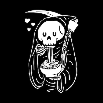 Skull love food, t-shirt design