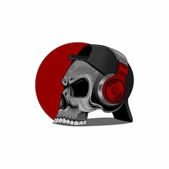 Skull luistert naar muziek via een koptelefoon