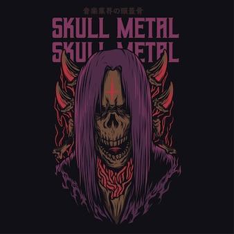 Skull metal cartoon grappige illustratie