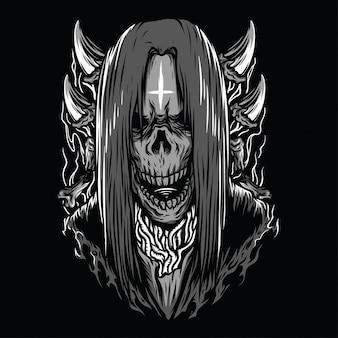 Skull metal zwart-wit afbeelding