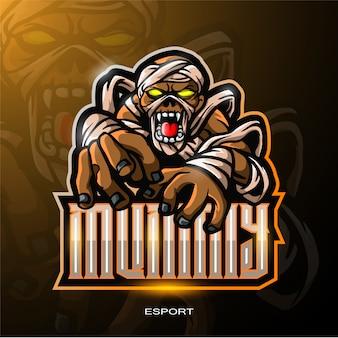 Skull mummy mascotte logo voor elektronische sport gaming logo