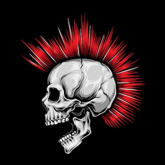 Skull punk rood haar