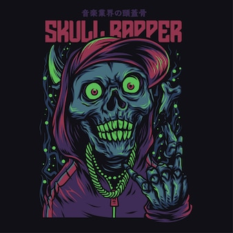 Skull rapper cartoon grappige illustratie